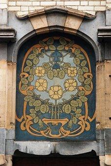 Art Nouveau, Nouveau, Facade, Facing Brick, Art