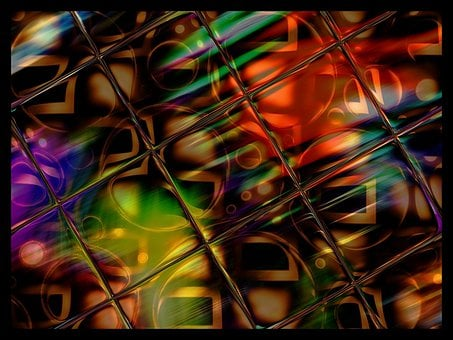 Stained, Glass, Reflections, Abstracts, Tiles, Patterns