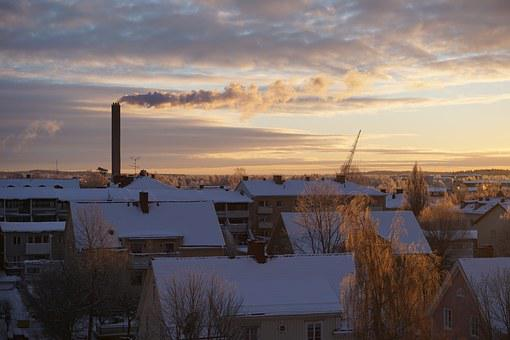 Winter, City, Snow, House, Roof, Sunrise, Sweden
