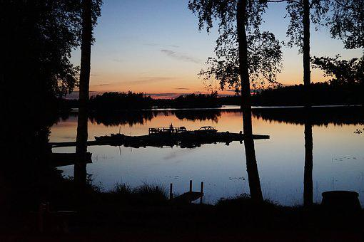 Sunset, Sweden, Boats, Evening Sky, Waldsee, Sun, Still