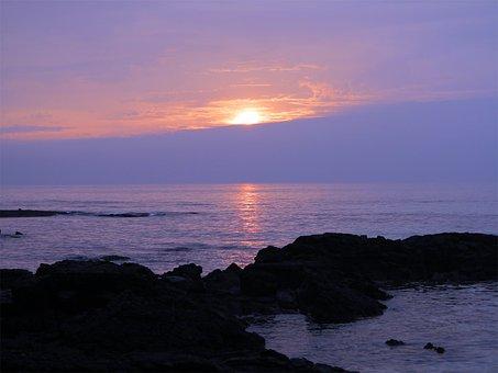 Sunset, Glow, Jeju, Beach, Sea, Evening Glow