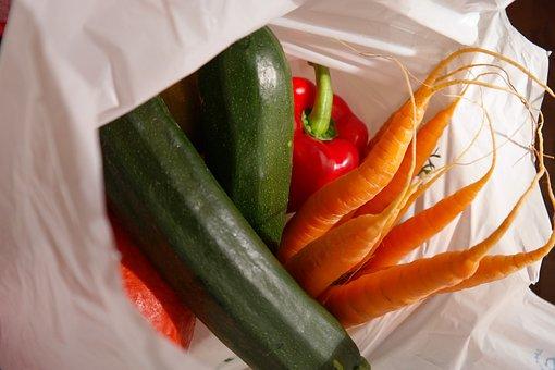 Shopping Bag, Market, Vegetables, Zucchini, Carrots