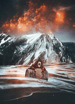 Monkey, Mountains, Barrel, Sea, Sky, Clouds, Cosmos