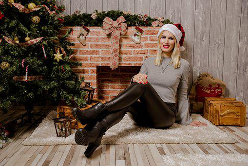 Christmas Woman, Lady, Blonde, December, Winter