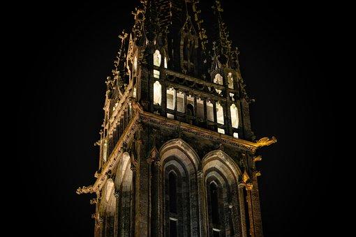Church, Basilica, Bell Tower, Gargoyle, Night, France