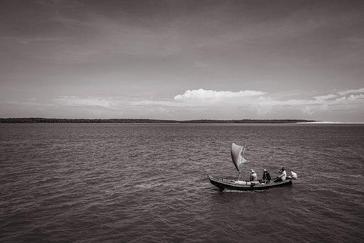 Boat, Beach, River, Sea, Coast, Navigation, Bw