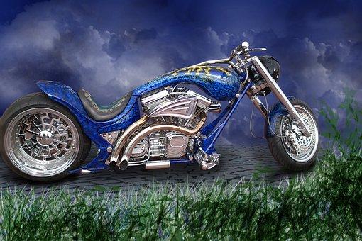 Motorcycle, Harley, Motor, Rocker, Chrome, Machine