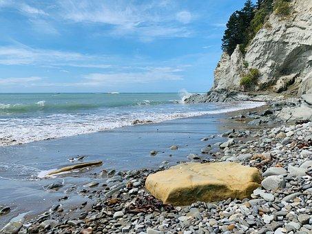 Beach, Ocean, Sea, Cliffs, Horizon, Waves, Driftwood