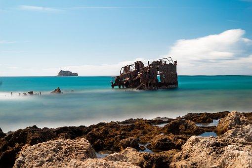 Shipwreck, Crete, Greece, Seascape, Ocean, Travel