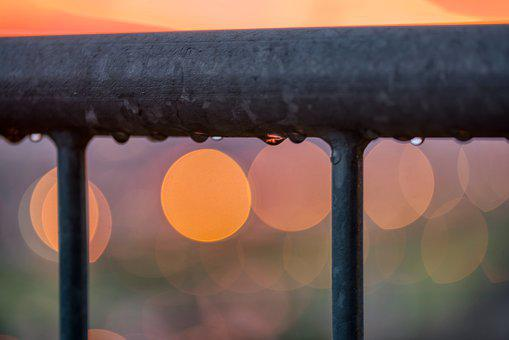 Railing, Wet, Raindrop, Sunset, Sparkle, Mirroring