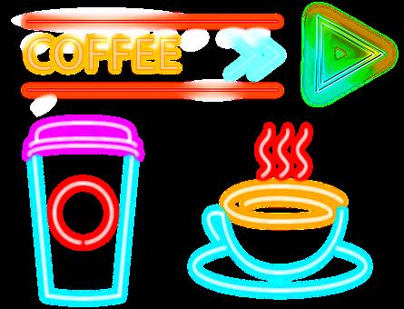 Neon Sign, Coffee, Cafe, Neon, Restaurant, Advertising
