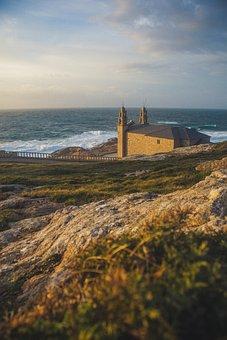 Sea, Church, Side, Saint Jaque De Compostela