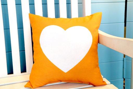 Orange, Heart, Shape, White, Isolated, Decorative