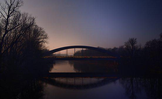 Bridge, Nature, Morning, Sunrise, Water, Silent, Quiet