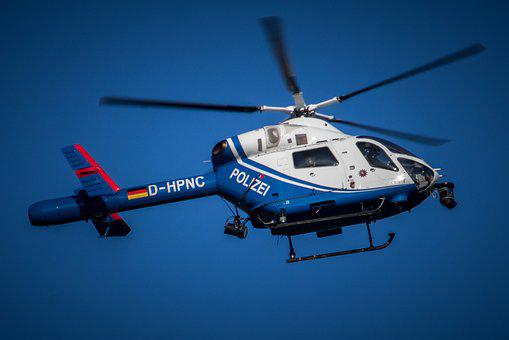 Helicopter, Blue, Flying, Sky, Use, Police, Aircraft