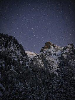 Starry Sky, Mountains, Landscape, Star, Night Sky