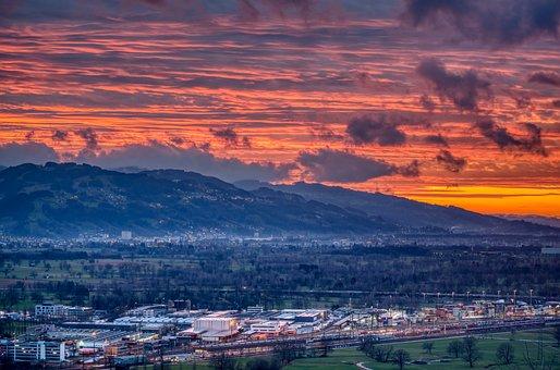 Abendstimmung, Sunset, Valley, Railway Station, Sky