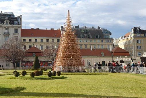 Christmas, Vienna, Sleigh Tree, Slide, Park, Belvedere