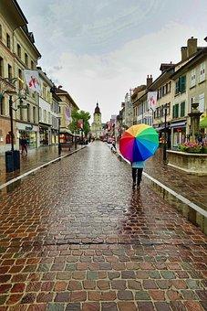 Umbrella, Street, Rain, Walking, Cobbles, Walk, Urban