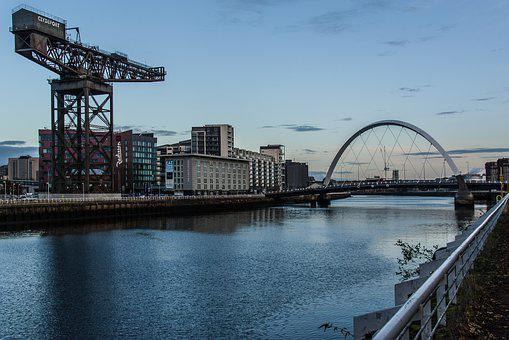 Glasgow, Port, Architecture, Water, River, Mirroring