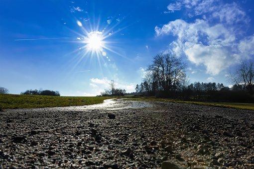 Sun, Climate Change, Away, Sunbeam, Curve, Stones