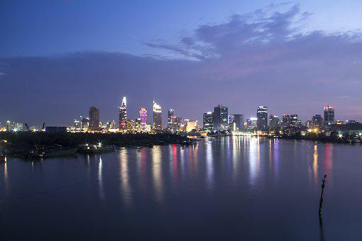City, Behind River, River, Landscape, Autumn, Behind