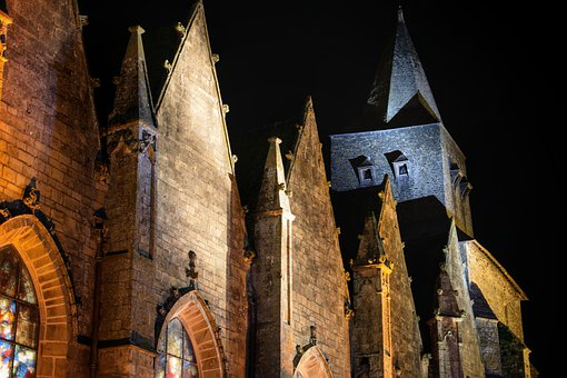 Church, Basilica, Bell Tower, Gargoyle, Night, France