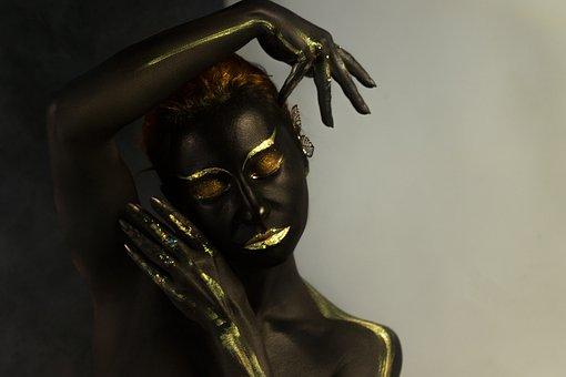 Girl, Fashion Model, Body Painting, Bw, People, Brush