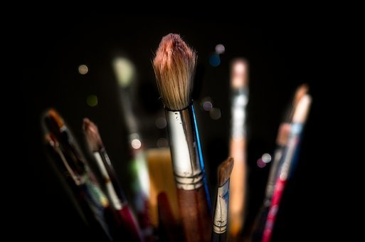 Brushes, Isolated, Black, Backdrop, Painting, Creative