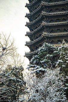 Snow, Tower, Church, Winter, Building, Landscape, Sky