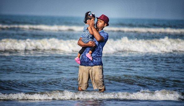 Father, Children, Beach, Love, Cry, Baby, Emotion