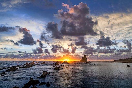 Landscape, Coast, The Indian Ocean, Rock, Sunset, Cloud