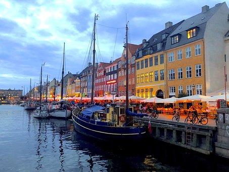 Evening, Copenhagen, Denmark, Clouds, House, Building