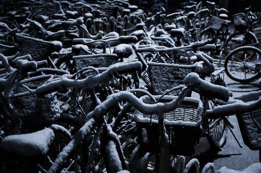 Bicycle, Snow, Dark, Night, Bike, Winter, Cycling, Cold