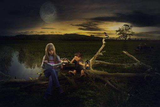 Composing, Photomontage, Evening, Fantasy, Moonlight