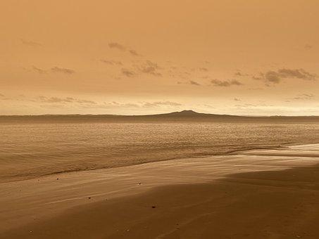 Rangitoto, Sepia, Sky, Beach, Weather, Environment