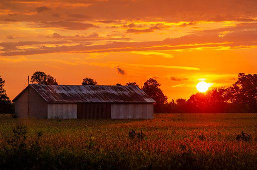 Shed, Sunset, Orange, Farm, Clouds, Country, Nature