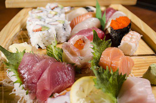 Sushi Boat, Japanese Sushi, Fresh Fish, Food