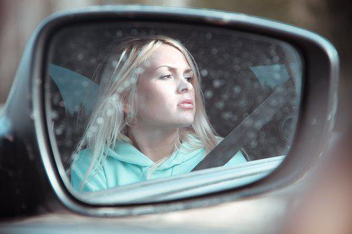 Blonde Girl In Car, Portrait, Hoody, In The Slr, Mirror