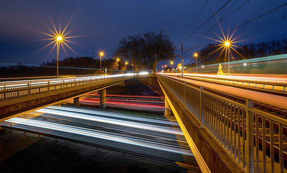 Light Traces, Auto, Traffic, Highway, Long Exposure
