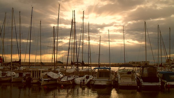 Sailboats, Masts, Harbour, Sunset, Sea, Ship, Water