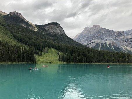 Emerald Lake, Canada, Lake, Mountains, Nature
