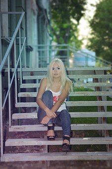 Blonde Girl, Long Hair, On The Climbing Frame, Stairs