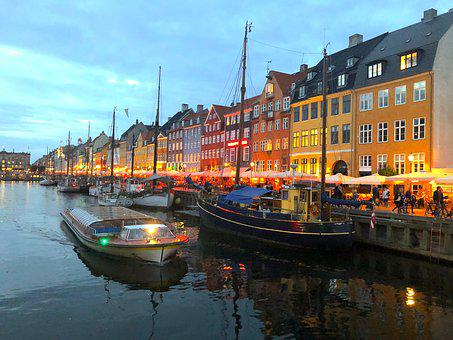 Copenhagen, Denmark, Wharf, Water, Port, Boats, Sky