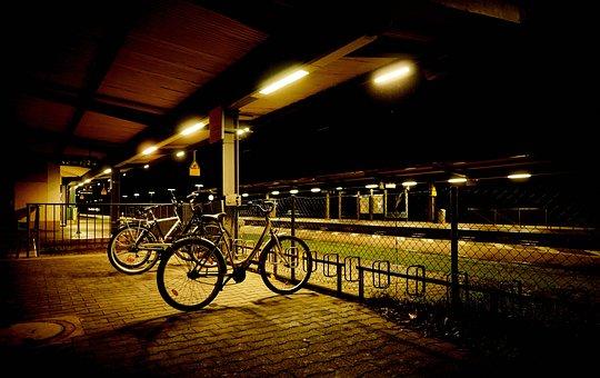 Night, Light, Railway Station, Bike, Bike Racks