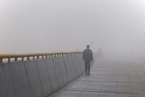 People, Riverside, Dam, Along The River, Fog