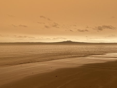 Rangitoto, Sepia, Sky, Beach, Weather, Environment