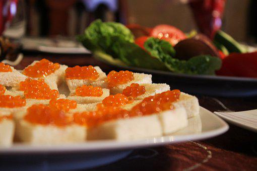 Caviar Sandwich, Fish, Snack, Salmon, Bread, Plate