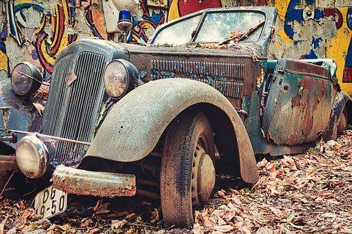 Oldtimer, Rusty, Auto, Old, Rusted, Turned Off, Scrap
