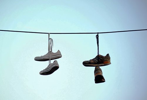Shoes, Sports, Old, Use, Hang On, Wire, Thread